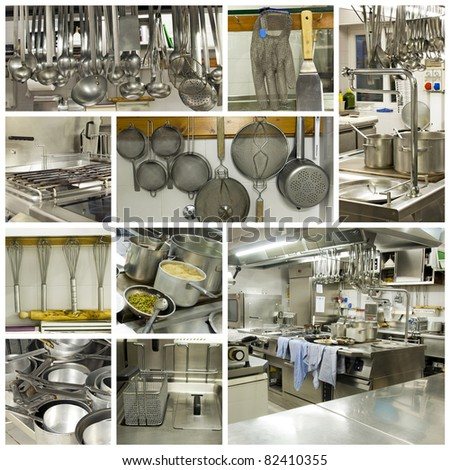 A collage of photos about kitchen restaurant - stock photo