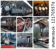 A collage of photos about old trains with steam engine locomotive - stock photo