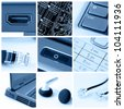 A collage of photos about technology theme - stock photo