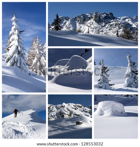 A collage of photos about winter time - stock photo