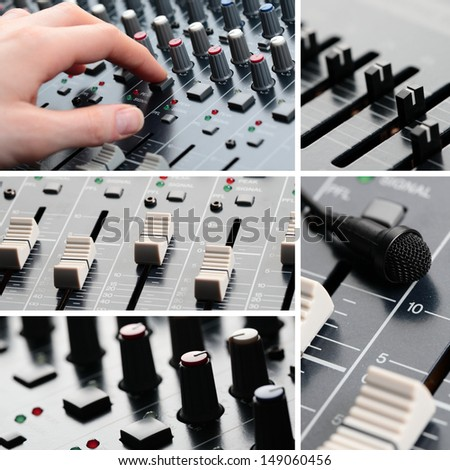 A collage of professional sound equipment. - stock photo