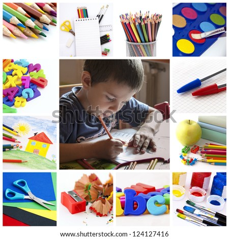 A collage of school and education theme - stock photo