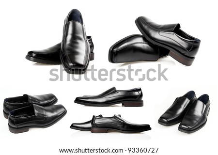 A collage of six pictures of black men shoes on a white background. - stock photo