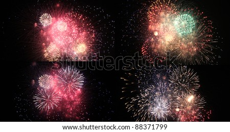 A collage of some beautiful fireworks shots - stock photo
