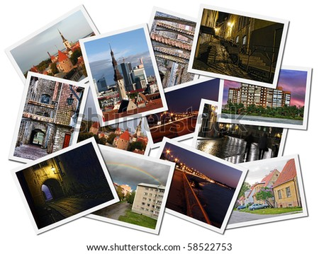 A collage of Tallinn landscape photos in a pile - stock photo