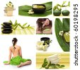 A collage of wellness - spa issues with two beautiful young women and a flower - stock photo