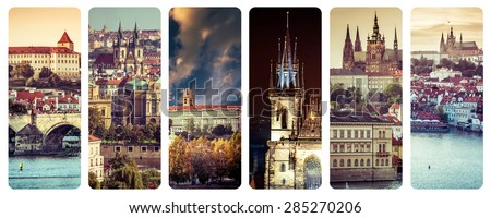 a collage  photographs of old Prague - stock photo