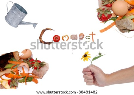 A Collage Representing the Cycle of Compost, with the Word Compost Written in Kitchen Scraps, Isolated on White - stock photo