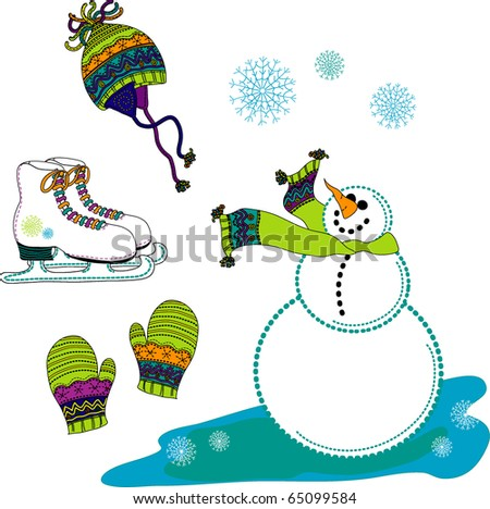 a collection of brightly colored winter icons - stock photo