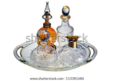 A collection of classic vintage perfume bottles - stock photo