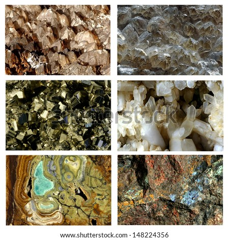 A collection of crystal and mineral macro images suitable for background or specimen display. - stock photo