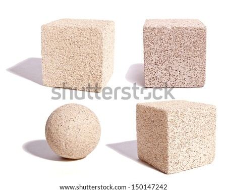 A collection of cubes and a sphere for texture and detail. - stock photo