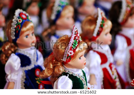 A collection of dolls in traditional Hungarian clothing - stock photo
