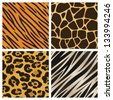 A collection of four different animal print backgrounds. Seamlessly repeatable. Raster. - stock vector
