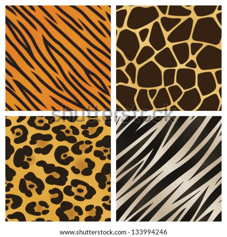 A collection of four different animal print backgrounds. Seamlessly repeatable. Raster. - stock photo