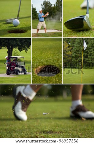 A collection of golf photos arranged in a collage 3 rows deep. Each row is taller than the row above in equal increments. - stock photo