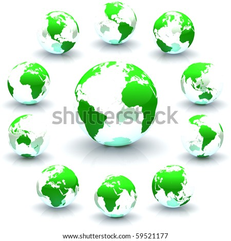 A collection of green continents-only globe marble illustrations - stock photo