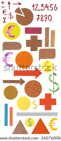 A collection of isolated infographic elements (pies for charts, pyramids, arrows, callout shapes etc) cut out of paper and hand-drawn numbers and symbols - stock photo