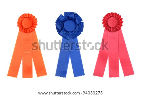 A Collection of Multi Colored Award Ribbons Isolated on White - stock photo