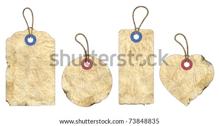 A collection of old handmade tags, ideal for a nostalgic feel. (clipping path included) - stock photo