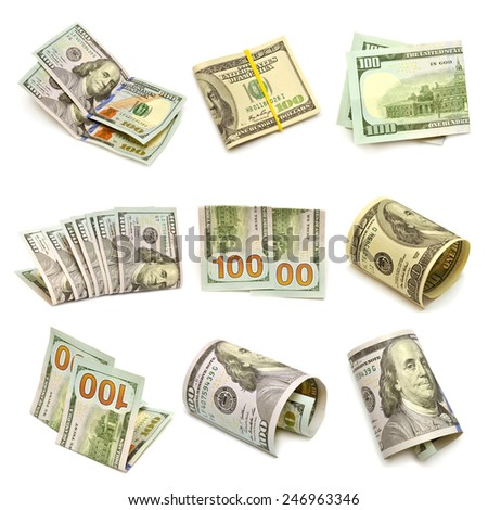 A collection of one hundred dollars isolated on white background - stock photo