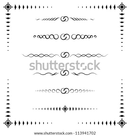A collection of 6 ornamental paragraph dividers and a frame, black & white, high resolution JPEG. Vector format is available. Check portfolio. - stock photo