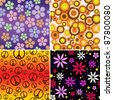 A collection of 4 seamlessly repeatable retro backgrounds. Raster. - stock photo