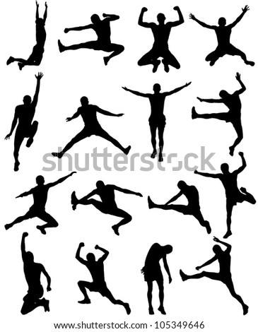 A collection of silhouetted images with people - stock photo