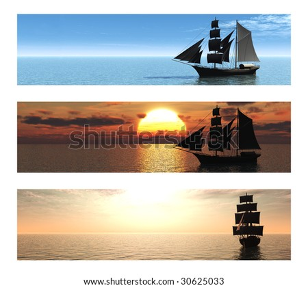 A collection of three banners with merchant ships at sea. - stock photo