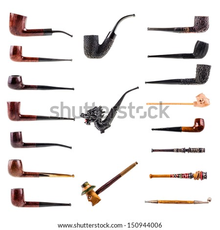 a collection of 18 tobacco pipes isolated over a white background - stock photo