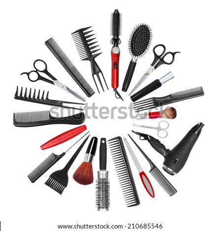 a collection of tools for professional hair stylist and makeup artist - stock photo