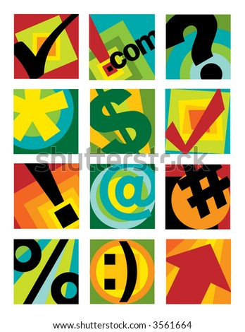 A collection of twelve internet-business symbols. Vector also available.