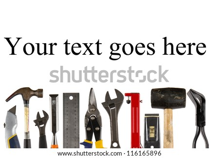 A collection of used isolated tools on white  background with copy space - stock photo