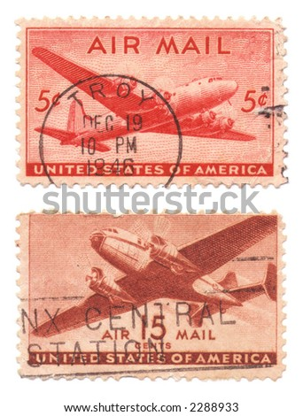 A collection of vintage US Air Mail Stamps dated 1946, five cents and 15 cents - stock photo
