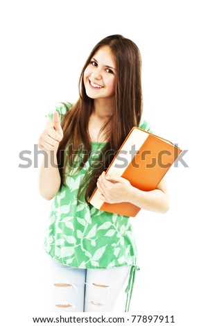 A college girl showing ok, isolated on white background