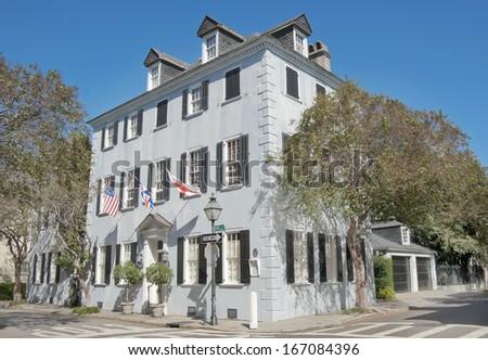 A Colonial era house on King Street in Charleston, South Carolina. - stock photo