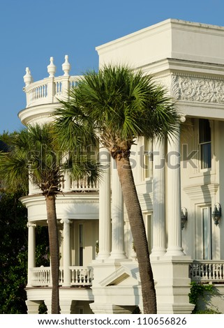 A colonial style house in Charleston, South Carolina. - stock photo