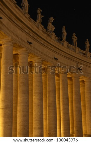A colonnade at St. Peter's Square in Rome, Italy. - stock photo