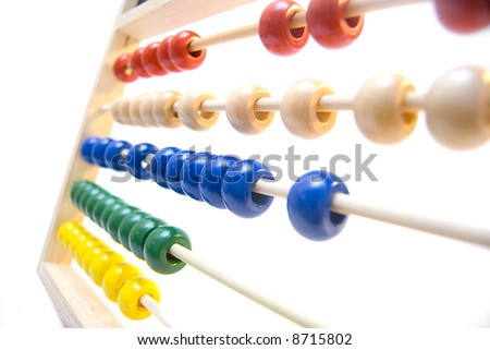 A colorful abacus on a white background. - stock photo
