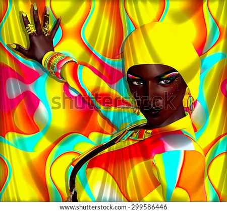 A colorful abstract background matches this beautiful African 3d model's makeup,clothing and accessories. Her sexy eyes eyes give a confident stare as he poses with one hand against the backdrop.