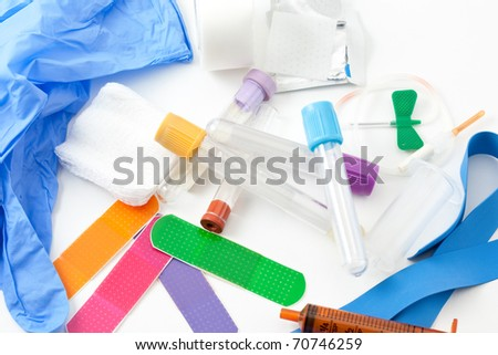 A Colorful assortment of supplies needed for blood work. / BLOOD WORK KIT - stock photo