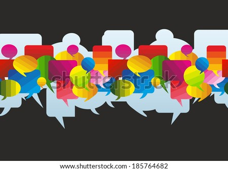 a colorful banner made of different speech bubbles - stock photo