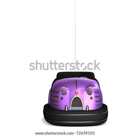 a colorful bumper car from the amusement park. 3D rendering with clipping path and shadow over white