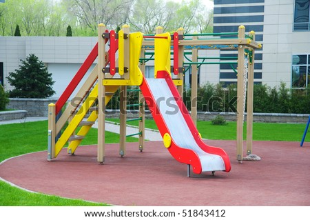 A colorful children playground on park - stock photo