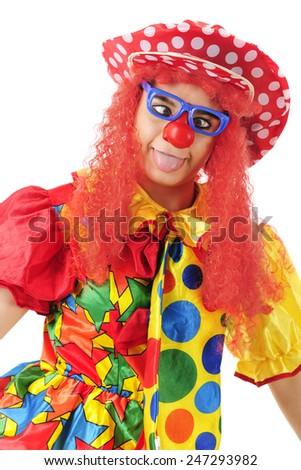 A colorful clown making a goofy cross-eyed, tongue extended face.  On a white background. - stock photo