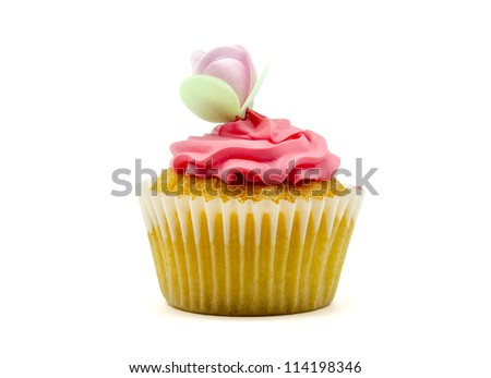 A colorful cupcake on white background