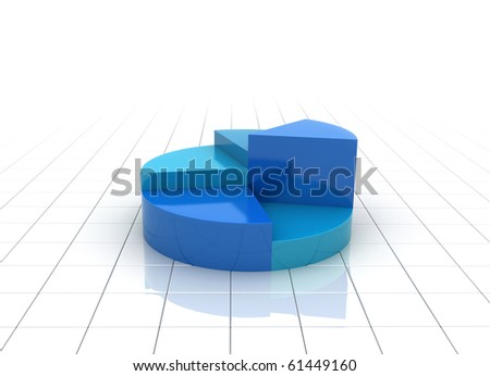 A colorful 3d pie chart graph illustration - side view - stock photo