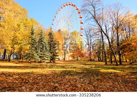 A colorful ferris wheel in amusement park. Autumn park.  - stock photo