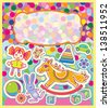 A colorful greeting card with children's toys. The background of multicolored confetti. Raster version of vector file - stock photo