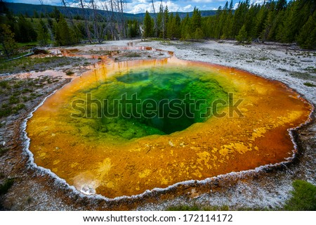 A colorful hot spring named Morning Glory Pool in Yellowstone National Park - stock photo